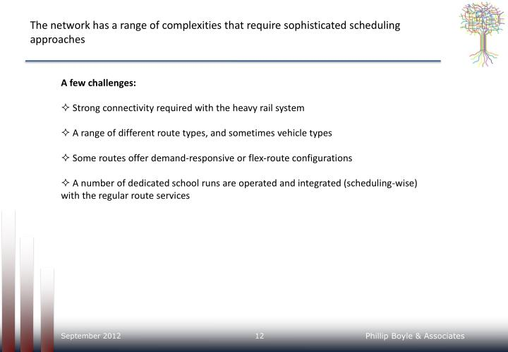The network has a range of complexities that require sophisticated scheduling approaches