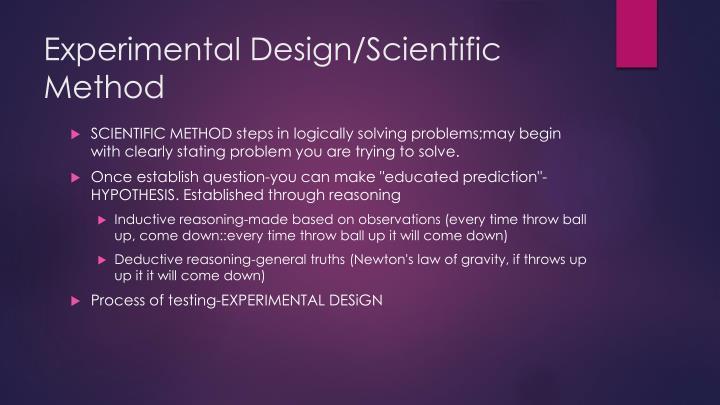 Experimental Design/Scientific