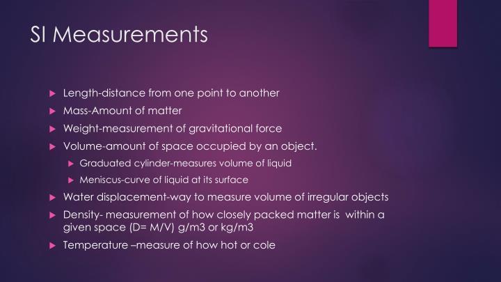 SI Measurements