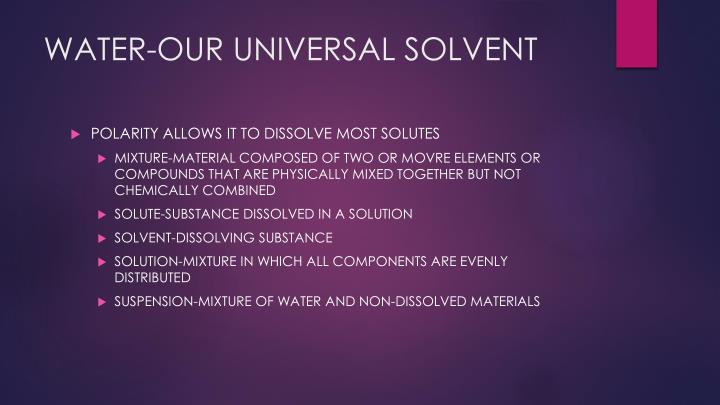 WATER-OUR UNIVERSAL SOLVENT