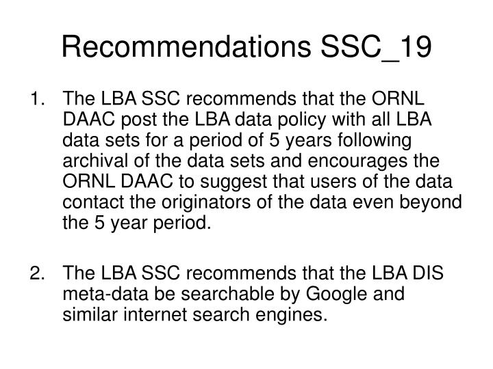 recommendations ssc 19 n.