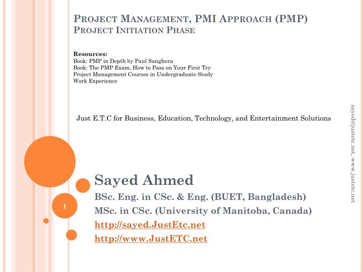 Project management pmi approach pmp project initiation phase
