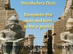 vocabulary quiz complete the quiz and turn in for a grade