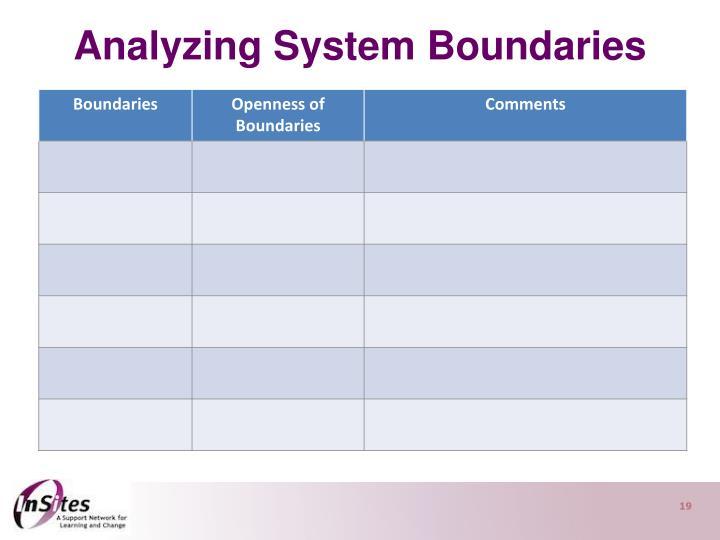 Analyzing System Boundaries