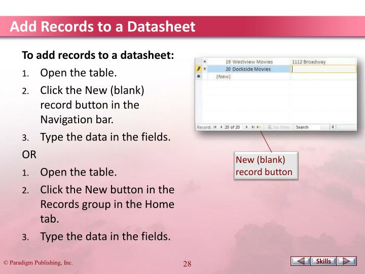 Add Records to a Datasheet