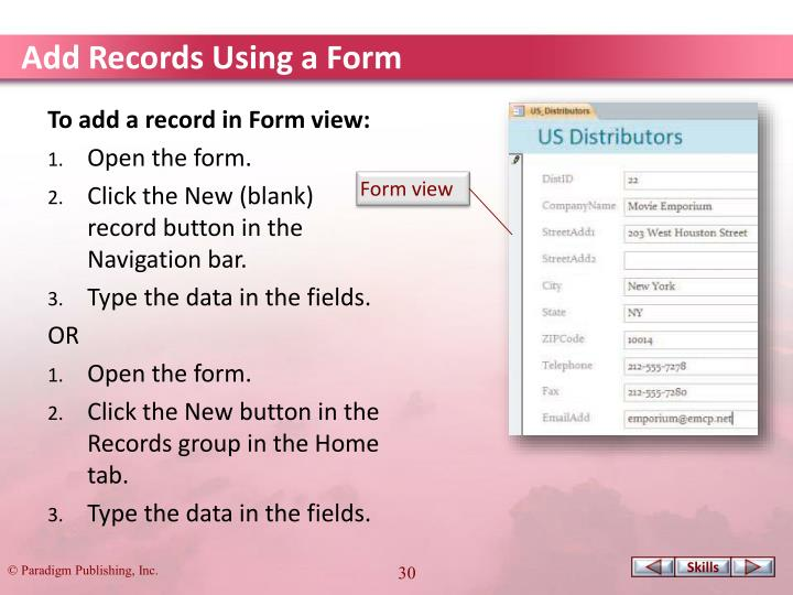 Add Records Using a Form