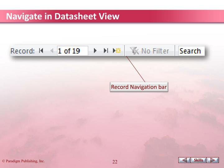 Navigate in Datasheet