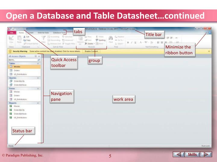 Open a Database and Table