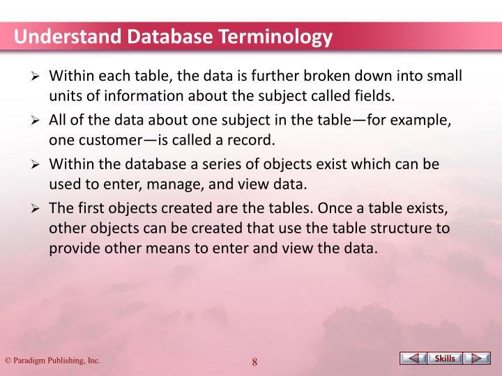 Understand Database Terminology