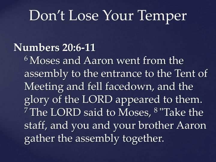 Don't Lose Your Temper