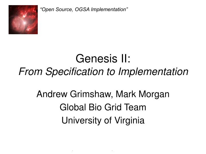 genesis ii from specification to implementation n.