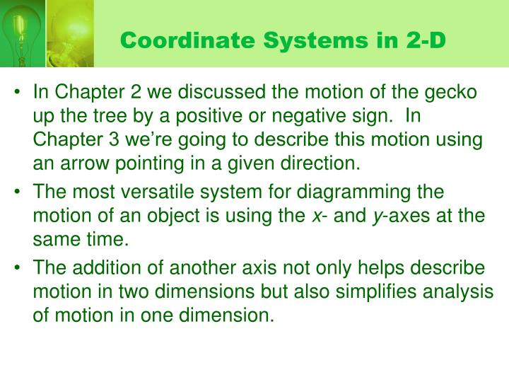 Coordinate systems in 2 d