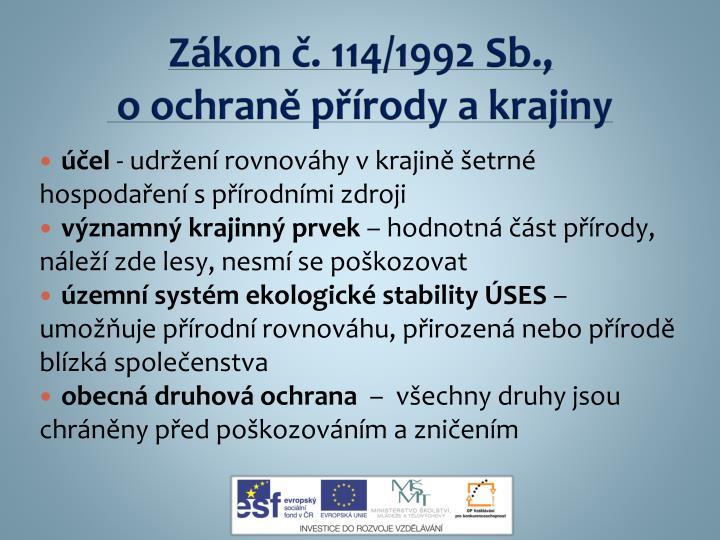 Zákon č. 114/1992 Sb