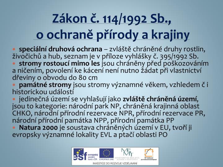 Zákon č. 114/1992 Sb.,