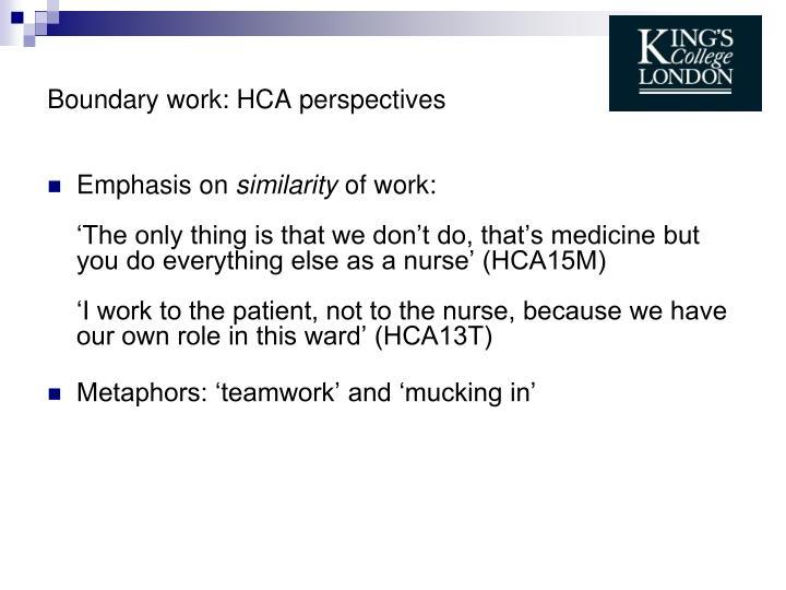 Boundary work: HCA perspectives
