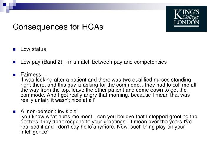 Consequences for HCAs