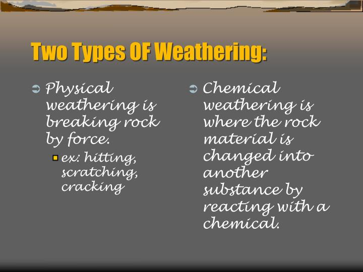 Physical weathering is breaking rock by force.