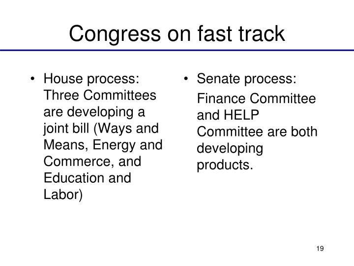 Congress on fast track