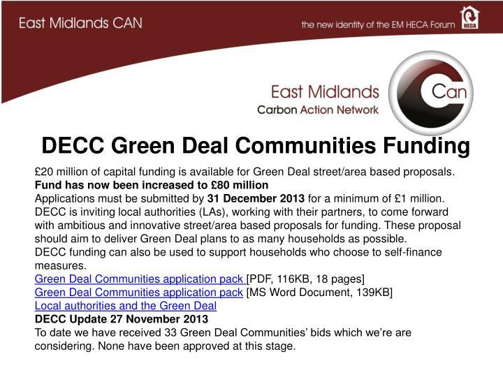 DECC Green Deal Communities Funding