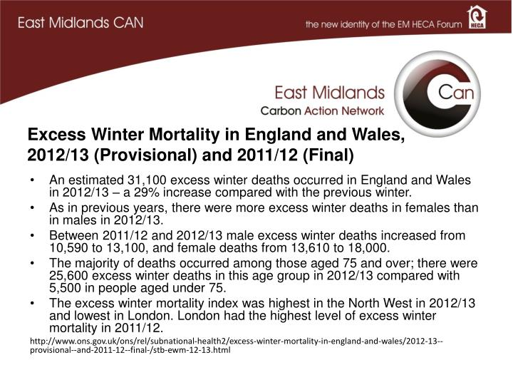 Excess Winter Mortality in England and Wales, 2012/13 (Provisional) and 2011/12 (Final)