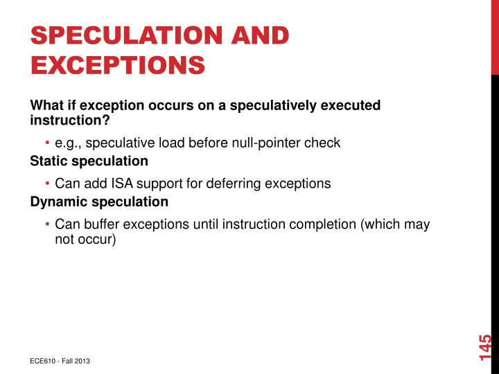 Speculation and Exceptions