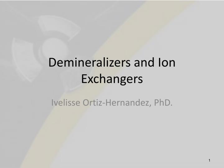 demineralizers and ion exchangers n.