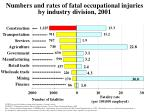 numbers and rates of fatal occupational injuries by industry division 2001