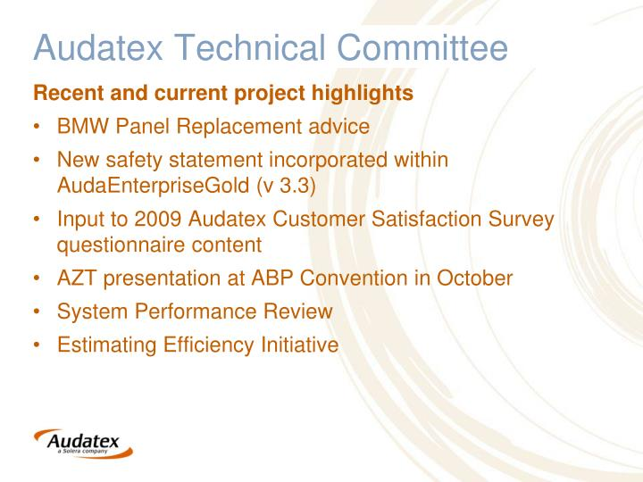 ppt audatex technical committee powerpoint presentation id 7106843