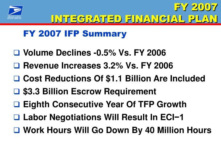 FY 2007 IFP Summary