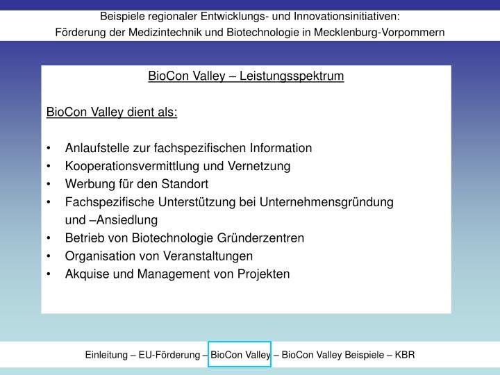 BioCon Valley – Leistungsspektrum