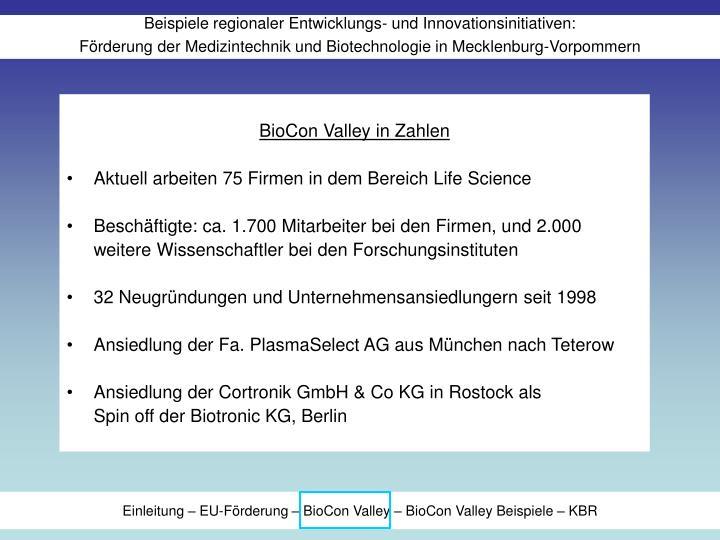 BioCon Valley in Zahlen