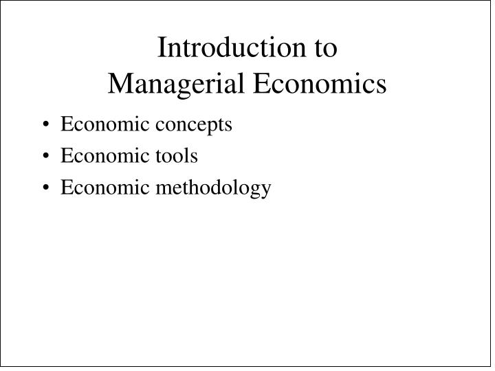 an introduction to managerial economics
