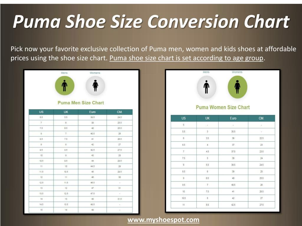 puma womens shoes size chart