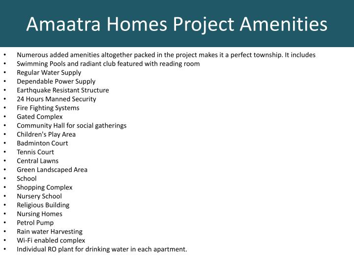 Amaatra homes project amenities