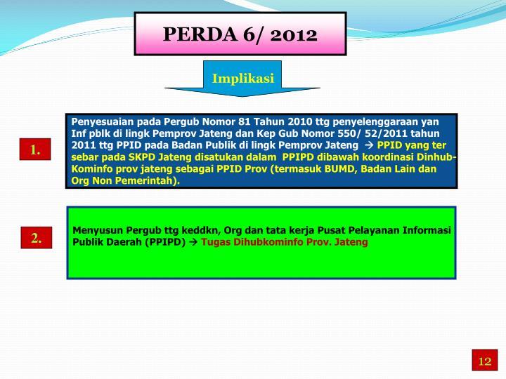 PERDA 6/ 2012