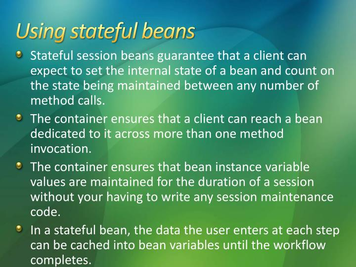 Using stateful beans