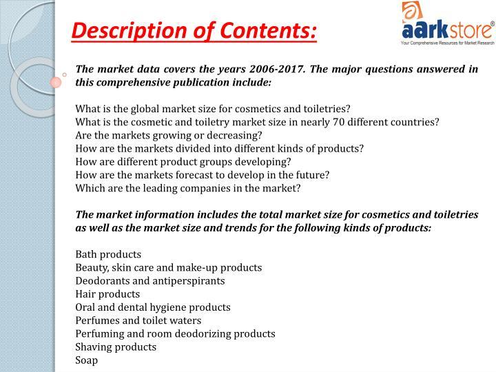 Description of Contents: