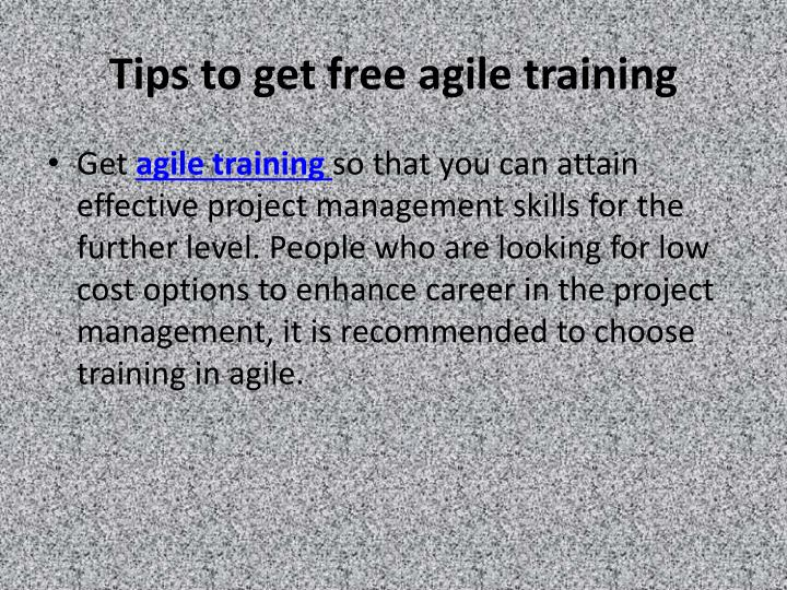 tips to get free agile training n.