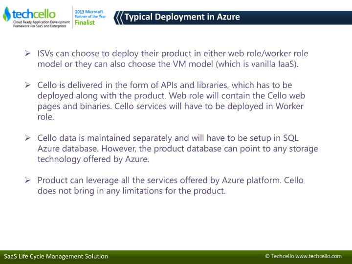 Typical Deployment in Azure