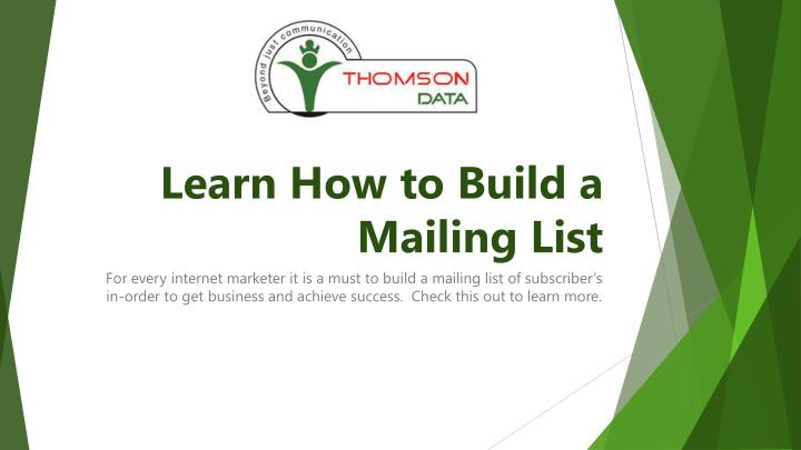 learn how to build a mailing list n.