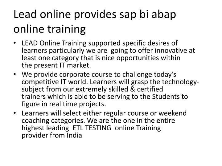 Lead online provides sap bi