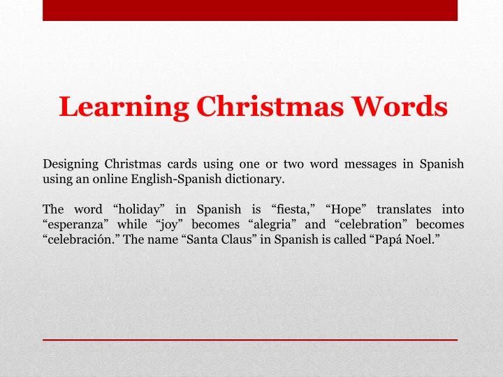 learning christmas words