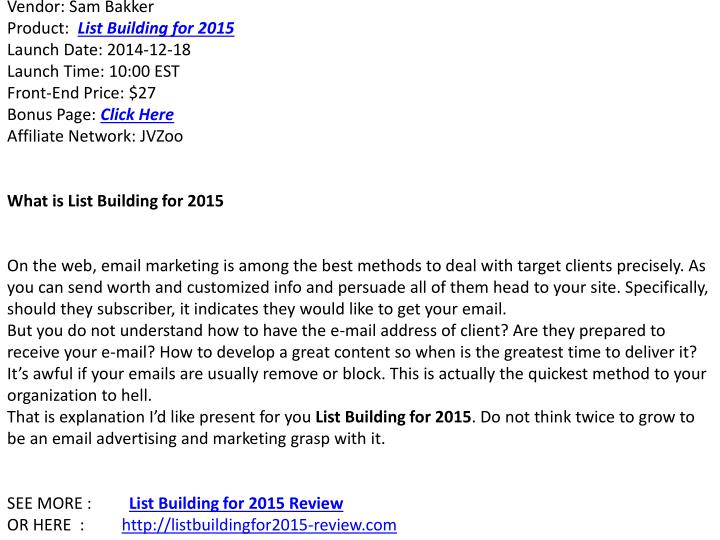 List Building for 2015Overview