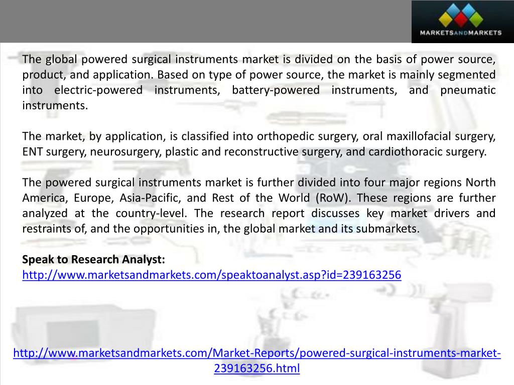 PPT - Powered Surgical Instruments Market by Product