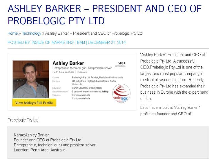 Ashley barker president and ceo of probelogic pty ltd