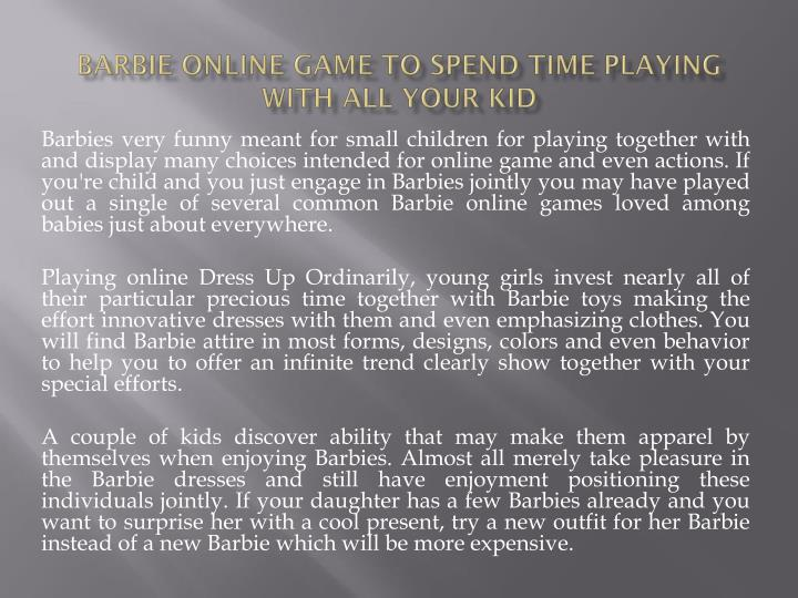 Barbie online game to spend time playing with all your kid