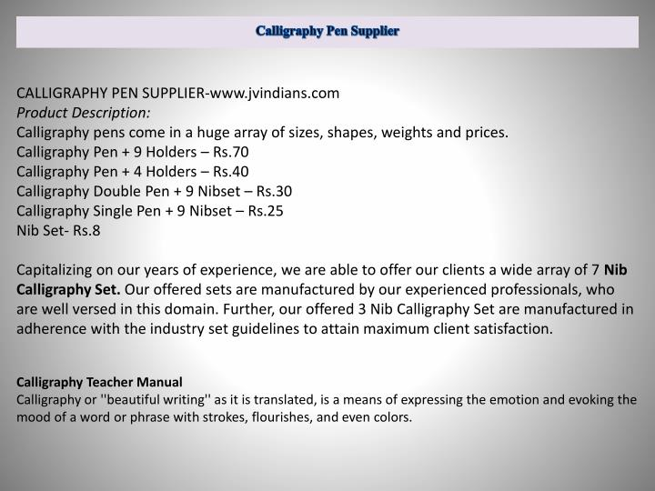Calligraphy pen supplier