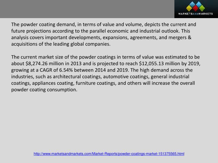 The powder coating demand, in terms of value and volume, depicts the current and future projections according to the parallel economic and industrial outlook. This analysis covers important developments, expansions, agreements, and mergers & acquisitions of the leading global companies.