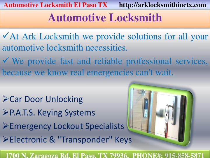 Automotive Locksmith El Paso TX