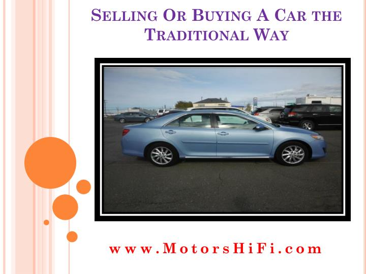 selling or buying a car the traditional way n.